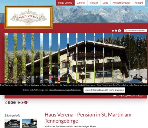 Pension St. Martin am Tennengebirge   Pension Verena  Öffnungszeit