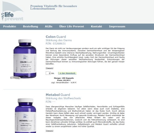 Life Prevent   Colon Guard  Metabol Guard   Nahrungsergänzungsmittel   Präparate nach ernährungsmedizinischen Überlegungen Life Prevent GmbH Öffnungszeit