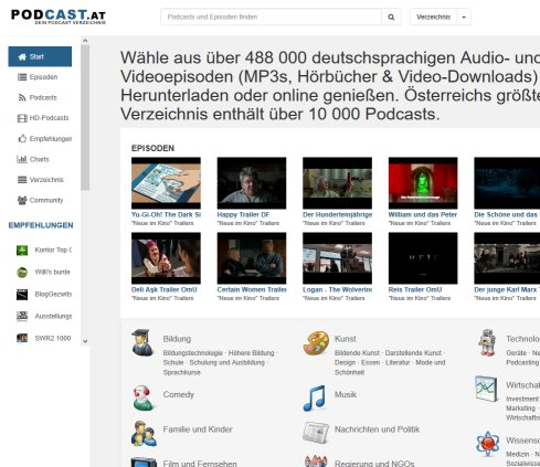 Podcast Verzeichnis mit Video  Audio MP3 downloads   podcast.at  Öffnungszeit